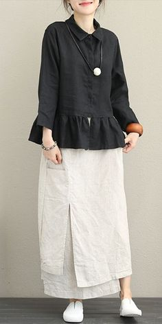 Casual Linen Shirt Women Loose Tops For Autumn - Women Fashion Mode Batik, Hijab Stile, Loose Tops, Loose Shirts, Mode Hijab, Pants Pattern, Linen Dresses, Fashion Outfits, Womens Fashion