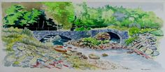 Stone Bridges: fine art, landscape, realism, watercolor painting that measures 11 x 25 inches by artist Tim Sappington
