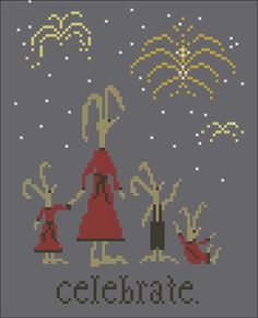 hare family celebrate (new year's or 4th of July) fireworks free cross stitch chart