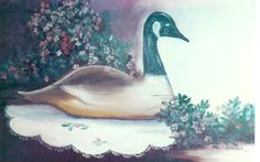 "Still life ""Goose and Flowers"" o/c 14x18 by Katherine Cook"