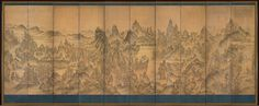 Cleveland Museum of Art The Seven Jeweled Peaks: Chilbo Mountains, 1700s Korea, Joseon dynasty (1392-1910) ten-panel screen; ink and color on cloth, Overall - h:186.10 w:448.30 cm (h:73 1/4 w:176 7/16 inches) Painting only - h:158.10 w:438.20 cm (h:62 3/16 w:172 1/2 inches). Mr. and Mrs. William H. Marlatt Fund 1989.6