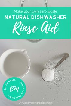 Make you own homemade non-toxic rinse aid using just citric acid and water. Using only 2 natural ingredients, citric acid and water this DIY dishwasher rinse aid recipe is the perfect addition to your zero-waste recipe collection Diy Home Cleaning, Homemade Cleaning Products, Diy Products, Natural Cleaning Products, Cleaning Hacks, Dishwasher Cleaner, Dishwasher Detergent, Diy Cleaners, Cleaners Homemade
