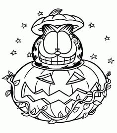 You're going to need a lot of orange to colour in this Garfield Halloween pumpkin colouring page - enjoy! This site has of Halloween coloring pages - printa dozen and staple them into a Halloween colouring book! Great as a favour for Halloween Parties! Ninja Turtle Coloring Pages, Pirate Coloring Pages, Pumpkin Coloring Pages, Fall Coloring Pages, Cat Coloring Page, Cartoon Coloring Pages, Adult Coloring Pages, Coloring Pages For Kids, Coloring Books