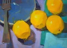 "Daily Paintworks - ""Loitering Lemons"" - Original Fine Art for Sale - © Carol Marine"