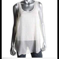 DKNY SILK Sequined White Sleeveless Blouse NWT  DKNY White Silk Sequined Sleeveless Tank Blouse.  Attached 2-pieces-white spaghetti strap Shell with Sheer Sequined Overlay SIZE:  LARGE---(can fit XL for sure!) RETAIL:  $195.00 Fabric:  93% Silk, 7% Elastane DKNY Tops Blouses