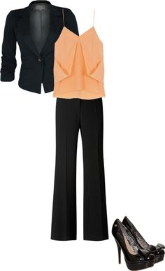 CLWO: Peach orange and black combo work outfit Professional Wardrobe, Professional Dresses, Work Fashion, Fashion Outfits, Womens Fashion, Business Fashion, Business Attire, Work Attire, Outfit Work