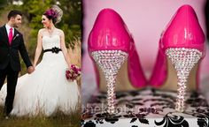Hot Pink and Crystal Wedding Shoes #dbbridalstyle