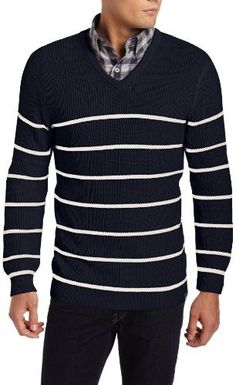Navy and White Horizontal Striped V-neck Sweater by Nautica. Buy for $23 from Amazon.com