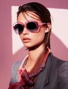 Birgit Kos wears rectangular framed sunglasses from Giorgio Armani