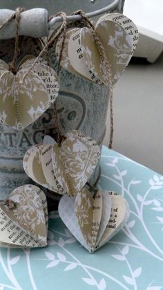 Paper baubles SHAKESPEARE heart garland wedding by LaMiaCasa, $9.00