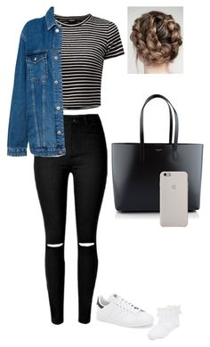 """""""#89"""" by eviemxox ❤ liked on Polyvore featuring Pull&Bear, adidas, Hue and Yves Saint Laurent"""