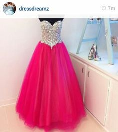 Cute pink long puffy sparkly prom dress