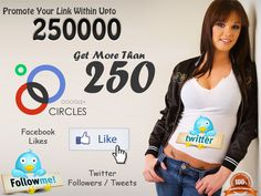 Get 250 Facebook Likes or twitter Follows or Google Circles by promote your link over 250000 Members Groups & Pages  http://www.fiverr.com/jessi_brown_90/get-250-facebook-likes-twitter-follows-by-promote-your-link-within-250000