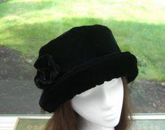 Rich Black Fleece Hat with rose Women's Winter Hat by HotHats