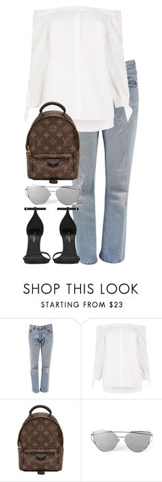 """""""Untitled #3041"""" by elenaday ❤ liked on Polyvore featuring Levi's, River Island, Louis Vuitton and Yves Saint Laurent"""