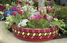 Painted tire planter