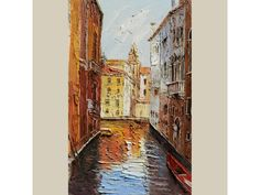 ORIGINAL Oil Painting Sunset in Venice 23 x 36 Italian Venice Canal Gondola Palette Knife Sunny Water Red Broen Yellow ART by Marchella Mediterranean Art, Venice Canals, Yellow Art, Palette Knife Painting, Best Places To Travel, Cool Artwork, Impressionism, Sunset, The Originals