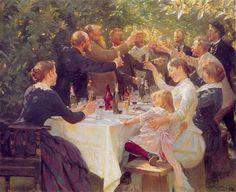 Peder Severin Krøyer (1851 - 1909) «Hip hip hurra! Kunstnerfest på Skagen» 1888