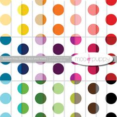 Polka Dot Digital Scrapbook Paper  --  Rainbow Polka Dot X-Large Apart White -- INSTANT DOWNLOAD www.mooandpuppy.com