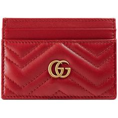 Gucci Gg Marmont Card Case ($230) ❤ liked on Polyvore featuring bags, wallets, red, gucci, leather bags, leather card holder wallet, red leather wallet and genuine leather credit card holder wallet