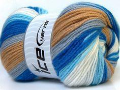 Baby Batik White Grey Camel Blue knitting yarn from ice yarn
