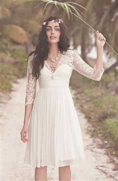 Illusion Top Empire Waist Scollop Neck Cocktail Length Wedding Dress US$155.55 Anniversary Sale OI FAVORITE http://www.outerinner.com/illusion-top-empire-waist-scollop-neck-cocktail-length-wedding-dress-pd-13651-0.html