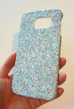 Brilliant Samsung Galaxy S 6 s6 EDGE Silver Ice Icy Multicolore Shine Super Sparkly Sparkle Glitter One of  A kind Case Cover handmade   by Yunikuna