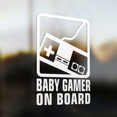 """Baby gamer on board Sticker Baby on board sticker. This baby gamer on board is a premium quality car decals. Size : 5.5"""" x 8"""" Price : $5.99 us. From www.baby-onboard.com"""