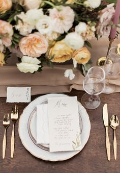romantic place setting - http://ruffledblog.com/farewell-to-summer-wedding-editorial