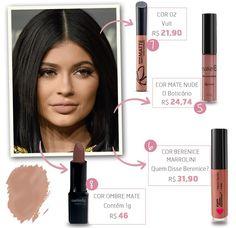 """Copie já os tons favoritos Kylie com nossa seleção de produtos """"made in Brazil"""" Makeup Dupes, Makeup Geek, Skin Makeup, Beauty Makeup, How To Make Hair, Make Up, Kylie Lipstick, Batons Matte, Kylie Jenner Makeup"""