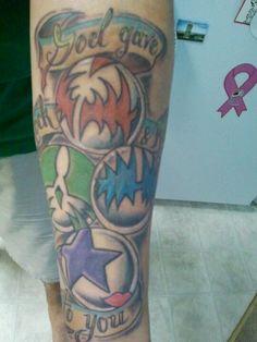 My KISS tribute tattoo. GOD GAVE ROCK AND ROLL TO YOU Kiss Tattoos, All Tattoos, Tatoos, Tribute Tattoos, Sister Tat, Hot Band, Cool Tats, Star Children, Tattoo Inspiration