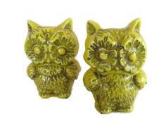 2 vintage yellow ceramic flower power owl with by mudintheUSA
