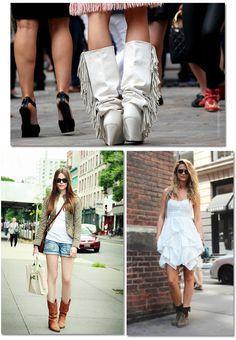 street style, outfit, look, trend , fashion, moda, tendencia, inspiração, get inspired, inspiration, short boots, fringes, boots, botas, botas curtas, franjas, dresses, vesrtidos, jackets, jaquetas, shorts