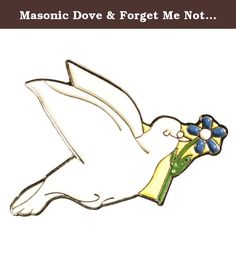 Masonic Dove & Forget Me Not Flower One Inch 24k Gold Plated Lapel Pin. The For Get Me Not Flower has been a tip of the hat to a fellow Mason for centuries. Now when carried by a beautiful white Dove, you will let others know you come in peace and with good fellowship. This beautiful White Dove with the Forgetmenot is stamped brass. The soft enamel and with 24K gold plated finish is a fine quality lapel pin. Order several as gifts for your friends.