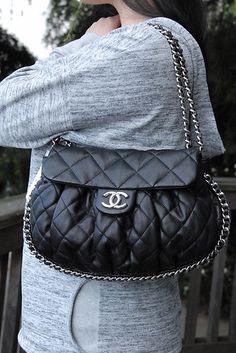 Authentic Black Chanel Classic Chain Around Flap Medium Messenger Handbag