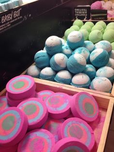 "lush bath bombs: ""Often imitated but never duplicated, Bath Bombs are an original LUSH invention. Drop your favorite sphere is the bath for a fragrant, fizzy bath!"" From what I have seen in the comments about the bath bombs, they also make your skin feel good as well. https://www.lush.com/"