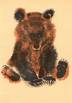 Yevgeny Charushin.К счастью, наш богатырь (медведь) отличается рыцарским характером, чуждым всякого коварства и лжи. Не умея лукавить, он добивается своего открытой силой и не прибегает к бесполезной жестокости, подобно волкам. В основе медвежьего характера лежит полная флегматичность и любовь к покою.   Альфред Брэм «Жизнь животных»