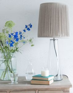 Loaf's glass Shardy lamp with pleated shade