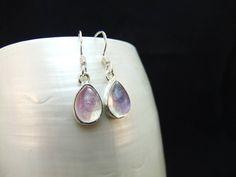 Pink Moonstone Gemstone Silver Sterling Earrings by WelshHillsJewellery on Etsy