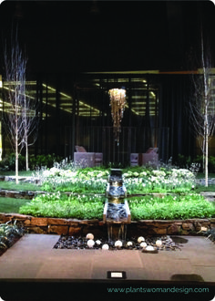NW Garden Show - Stream into flat rock bed with lighted white balls.