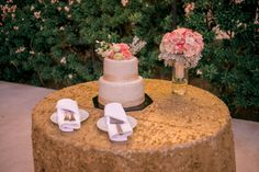 Gold sequin cake table Cabo #wedding #cake #caketable #gold #sequins #roantic #blush #flowers #ideas #decor #design