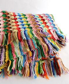Vintage Rainbow Stripe Zig Zag Crochet Blanket. $44.00, via Etsy.