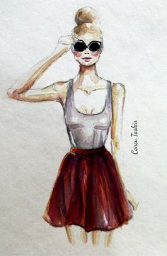 fashion sketch matching skirt and sunglasses