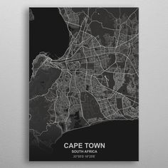 City Map Poster, Cape Town South Africa, Poster Prints, Posters, Home Art, Egypt, City Photo, Metal, Tiny House