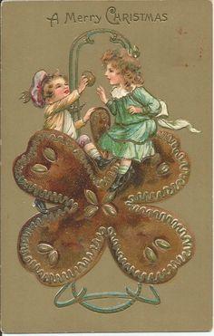 Vintage Christmas Postcard Beautiful Girls Sit On Flowers Eating Cookies 1908 #Christmas