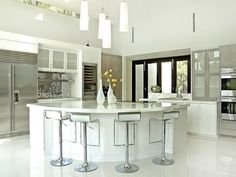 Modern Interior Ideas With White Kitchen Cabinets And Stainless Steel White Backsplash Ideas. This picture is one of many ideas on 30 white kitchen backsplash ideas. Kitchen Cabinets And Countertops, Kitchen Countertop Materials, Granite Kitchen, Island Kitchen, Oak Cabinets, White Cabinets, Granite Countertops, Granite Bathroom, Minimalist Home