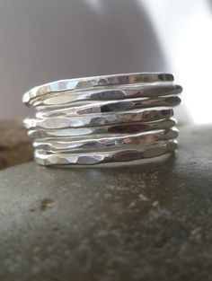 stacked hammered sterling silver ring