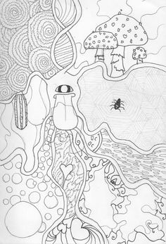 Trippy Coloring Pages | Trippy Shroom Coloring Pages