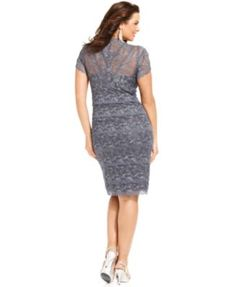 Marina Plus Size Cap-Sleeve Lace Cocktail Dress - Dresses - Women - Macy's
