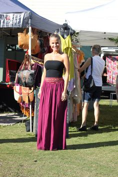 The lovely Alex from Lokoa, wearing the Malea Berry skirt from their latest collection.